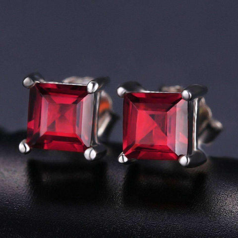0.8ct Ruby 925 Sterling Silver Stud Earrings - The Timeless Store