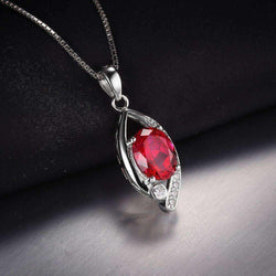 2.2ct Ruby 925 Sterling Silver Pendant Without a Chain