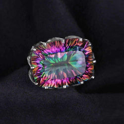 23ct Rainbow Fire Mystic Topaz Ring 925 Sterling Silver