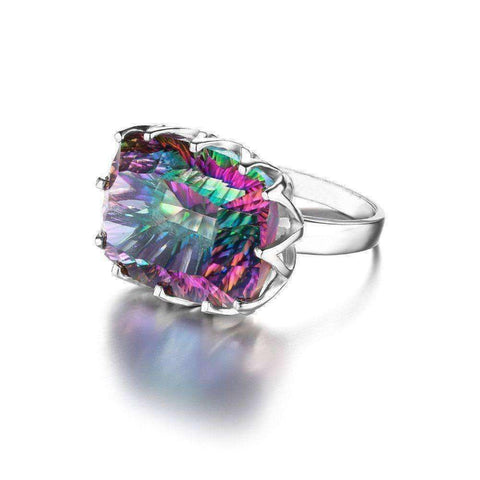 23ct Rainbow Fire Mystic Topaz Ring 925 Sterling Silver - The Timeless Store