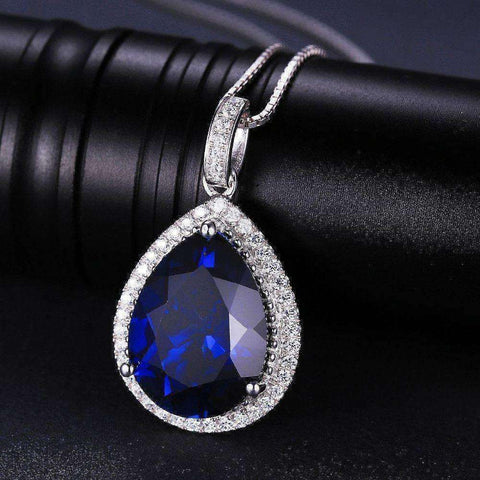 5.7ct Blue Sapphire Pendant Genuine 925 Sterling Solid Silver