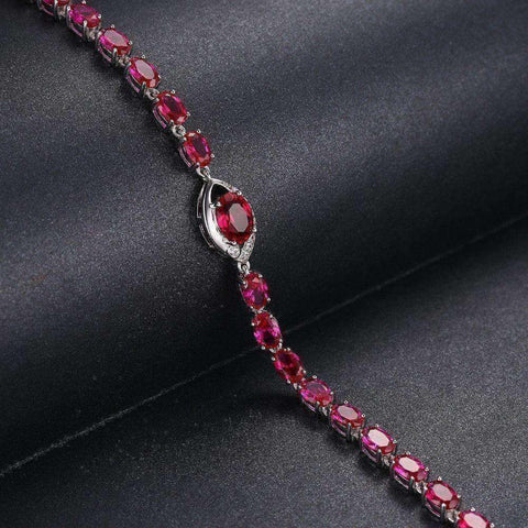 10.8ct Ruby Bracelet 925 Sterling Silver Charm Bracelet - The Timeless Store
