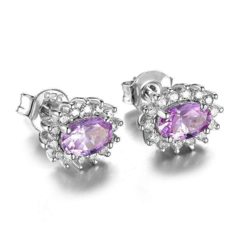 2.5ct Alexandrite Sapphire Stud Earrings 925 Sterling Silver