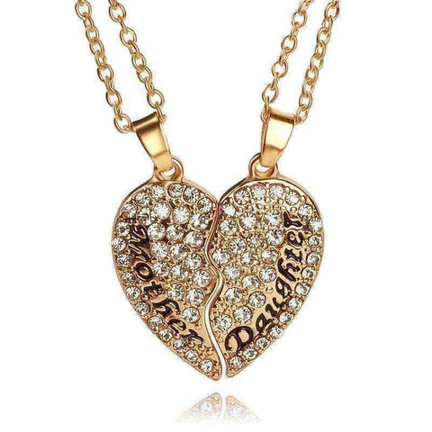 2pcs/set Heart Mother Daughter Crystal Heart Shaped Necklace - The Timeless Store