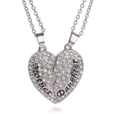 2pcs/set Heart Mother Daughter Crystal Heart Shaped Necklace