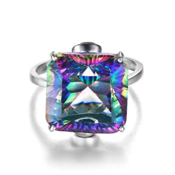 13ct Rainbow Fire Mystic Topaz Ring Solid 925 Sterling Silver