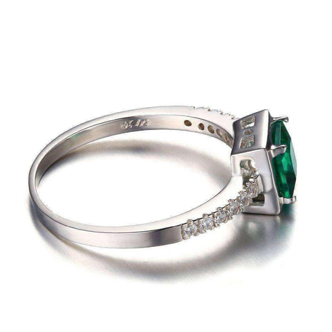 Emerald Solitaire Ring Solid 925 Sterling Silver