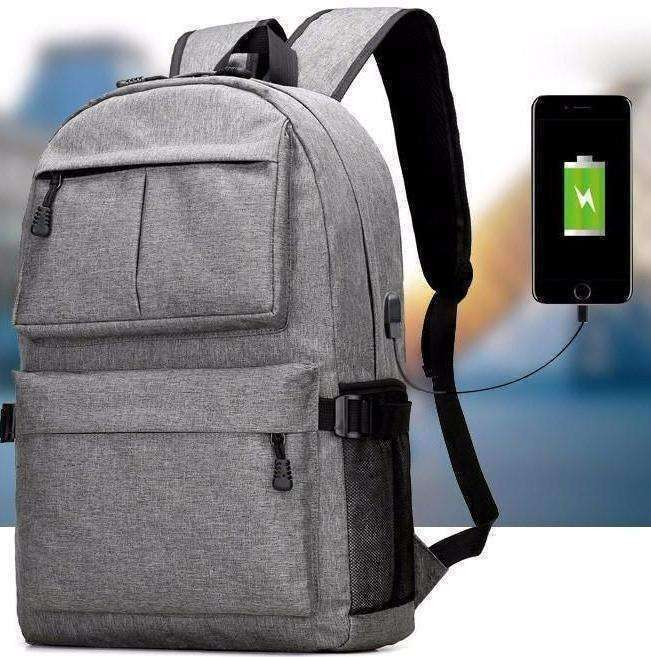 Unisex Oxford Canvas Design Backpack with USB Charger - The Timeless Store