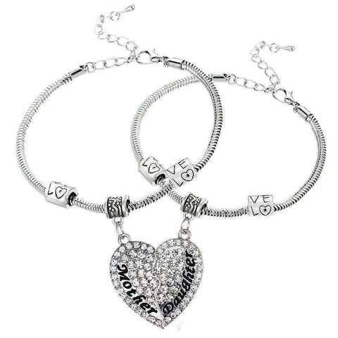 Crystal Mother Daughter Broken Heart Bracelet Bangle - Timeless Store