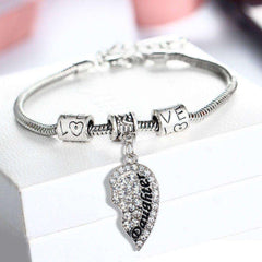 Crystal Mother Daughter Broken Heart Bracelet Bangle