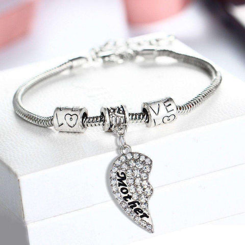 Crystal Mother Daughter Broken Heart Bracelet Bangle - The Timeless Store