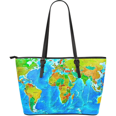 World Map Leather Tote Bag - FREE SHIPPING WORLDWIDE