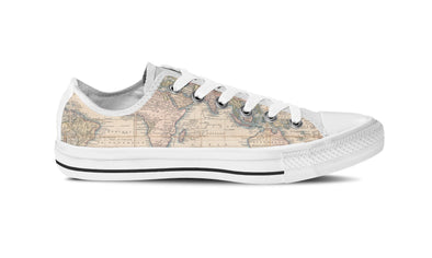 WOMEN'S VINTAGE WORLD MAP LOW-TOP SHOES (WHITE) - FREE SHIPPING WORLDWIDE