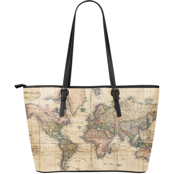 Vintage World Map Leather Tote Bag - FREE SHIPPING WORLDWIDE