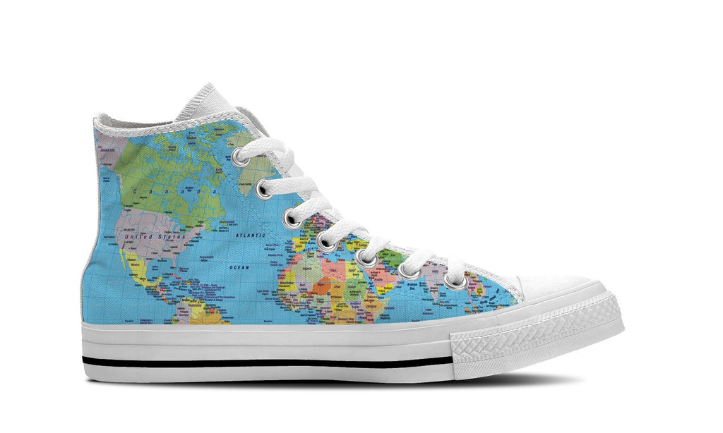 MEN'S WORLD MAP HIGH-TOP SHOES (WHITE) - FREE SHIPPING WORLDWIDE