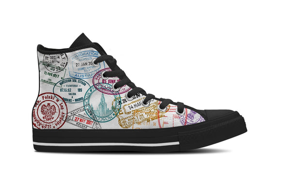 WOMEN'S PASSPORT STAMPS HIGH-TOP SHOES (BLACK) - FREE SHIPPING WORLDWIDE