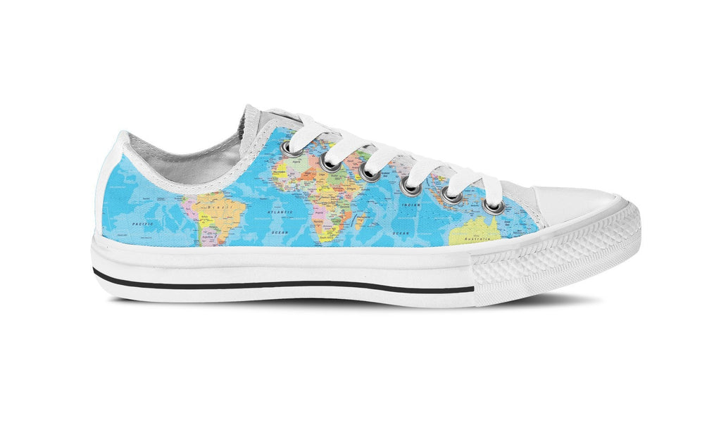 WOMEN'S WORLD MAP LOW-TOP SHOES (WHITE) - FREE SHIPPING WORLDWIDE