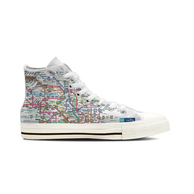 MEN'S TOKYO SUBWAY HIGH-TOP SHOES (WHITE) - FREE SHIPPING WORLDWIDE