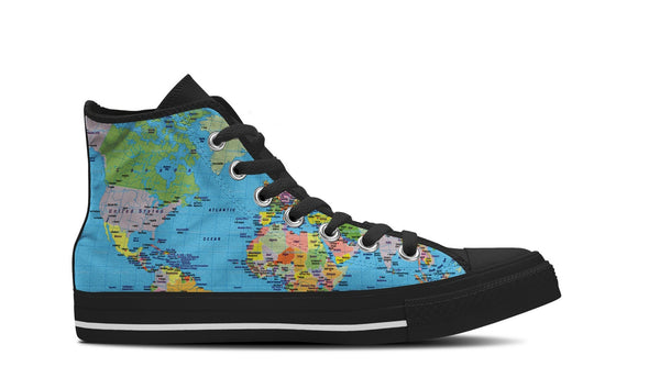 WOMEN'S WORLD MAP HIGH-TOP SHOES (BLACK) - FREE SHIPPING WORLDWIDE