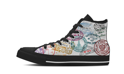 MEN'S PASSPORT STAMPS HIGH-TOP SHOES (BLACK) - FREE SHIPPING WORLDWIDE