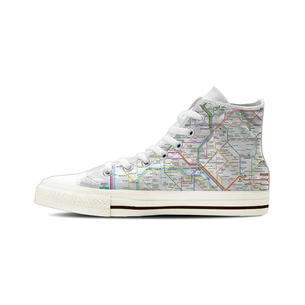MEN'S PARIS SUBWAY HIGH-TOP SHOES (WHITE) - FREE SHIPPING WORLDWIDE
