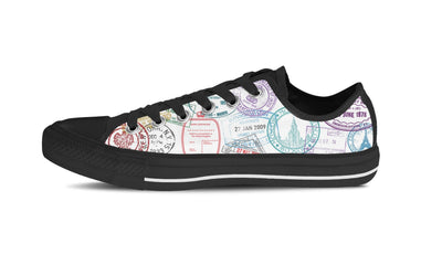 WOMEN'S PASSPORT STAMPS LOW-TOP SHOES (BLACK) - FREE SHIPPING WORLDWIDE