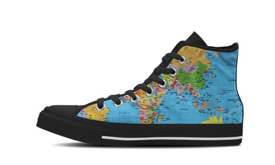 MEN'S WORLD MAP HIGH-TOP SHOES (BLACK) - FREE SHIPPING WORLDWIDE