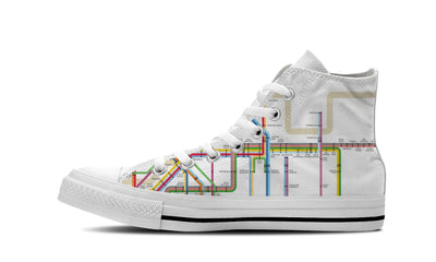 MEN'S NYC SUBWAY HIGH-TOP SHOES (WHITE) - FREE SHIPPING WORLDWIDE