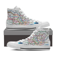 WOMEN'S TOKYO SUBWAY HIGH-TOP SHOES (WHITE) - FREE SHIPPING WORLDWIDE
