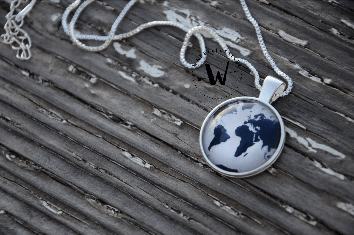 Premium blue world map necklace with box chain free shipping premium blue world map necklace with box chain free shipping worldwid wanderlustique gumiabroncs Choice Image