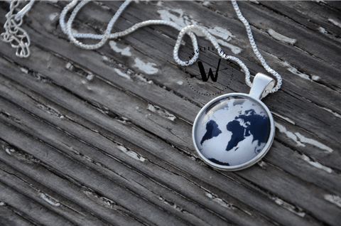 Premium Blue World Map Necklace with Box Chain (FREE SHIPPING WORLDWIDE)