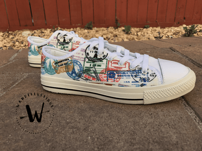 WOMEN'S PASSPORT STAMPS LOW-TOP SHOES (WHITE) - FREE SHIPPING WORLDWIDE