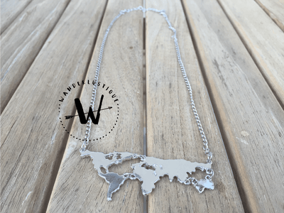 Premium Flat World Map Necklace (Available In 3 Different Colors) - FREE SHIPPING WORLDWIDE
