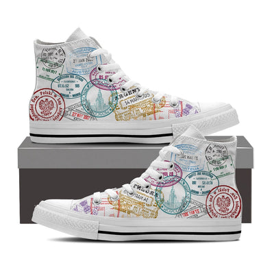 MEN'S PASSPORT STAMPS HIGH-TOP SHOES (WHITE) - FREE SHIPPING WORLDWIDE