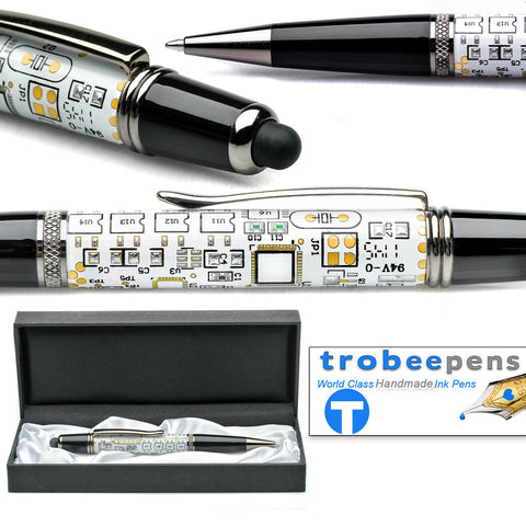 circuit board pen white - ball point in pen case