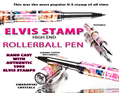 elvis presley pen handmade with postage stamps