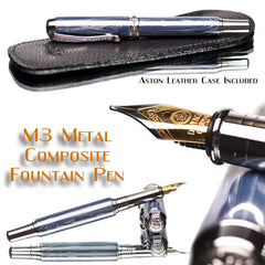 Ink Fountain Pen M3 Metal Custom Blue and White Mokume Quality Best Handcrafted gifts for men