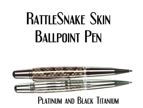 Rattlesnake pen, ballpoint made from real snake skin, custom made, gift for a guy
