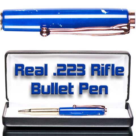 blue lapis bullet pen with case high end gift for gun shooter