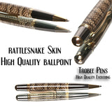Rattlesnake  Pen, ballpoint pen made of snake skin Guys Gifts