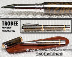 Pen, Rollerball, M3 Metal, writing pen, custom, gold titanium, ink, Gold,  top of the line, with pouch
