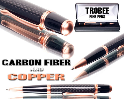 carbon fiber pen with copper accents