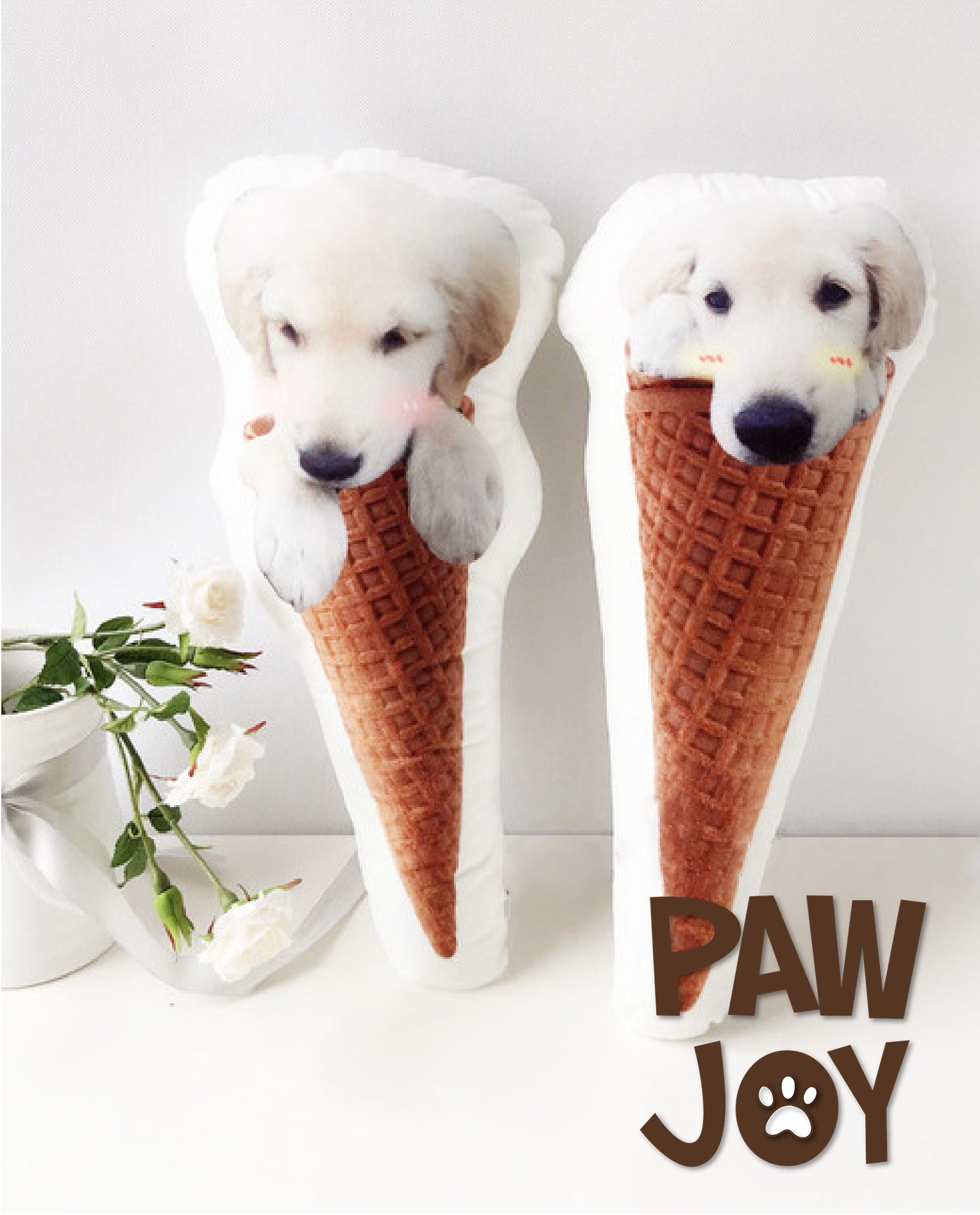 personalized ice cream cone pet pillow pawjoy