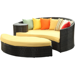 LexMod Quest Circular Outdoor Wicker Rattan Patio Daybed