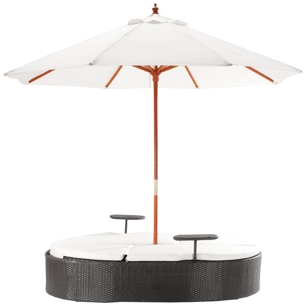 Marbella Espresso Outdoor Patio Double Chaise Lounge Bed with Umbrella