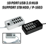 10 Port USB Hub 2.0 Hi-Speed Hard Disk with Switch 1 Meter Metre Computer Laptop Tablet Phone