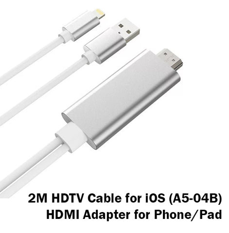 2M HDTV Cable for iOS Lightning HDMI Adapter Converter iPhone iPad Apple 8 Pin