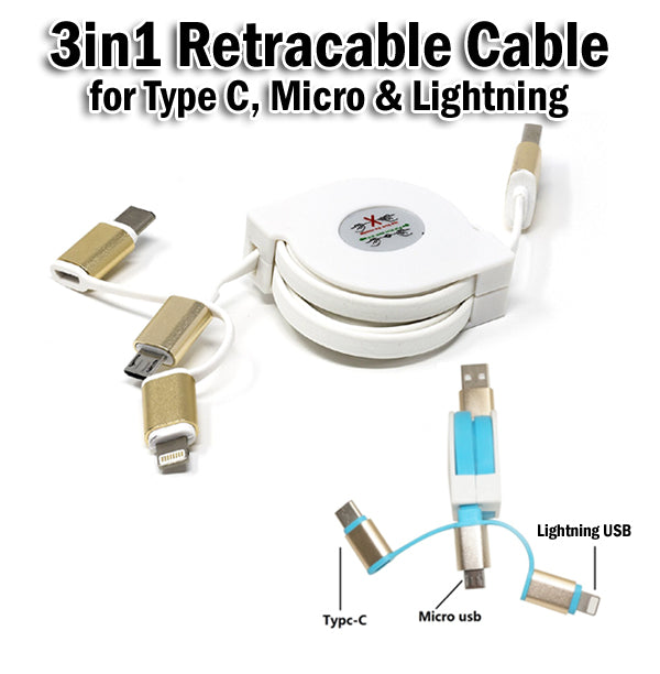 3in1 retractable usb data charging charger cable ios lightning micro