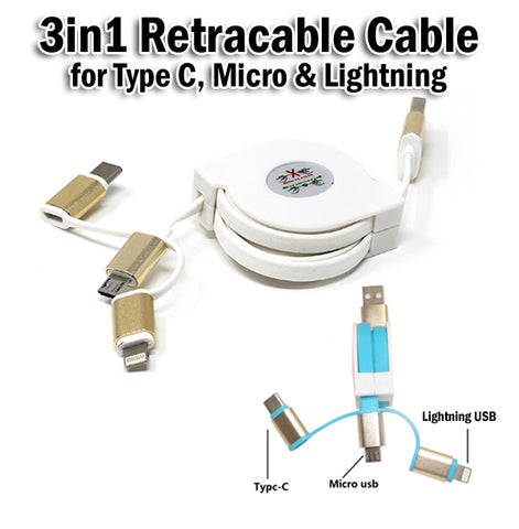 3in1 Retractable USB Data Charging Charger Cable IOS Lightning+Micro+Type C