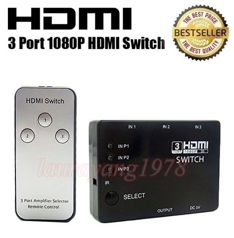 3 Port HDMI Switch Hub with Remote Control